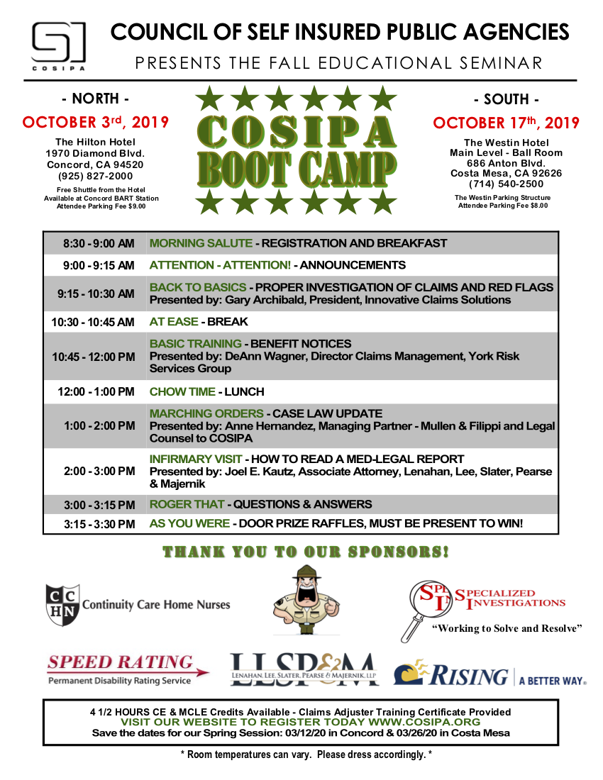 COSIPA FALL 2019 Agenda. The full text of this agenda is listed in the email text. The bottom of this image lists our sponsors: Community Care Home Nurses; Specialized Investigations; Speed Rating; Leenahan, Lee, Slater, Pearse & Majernik, LLP; Rising.